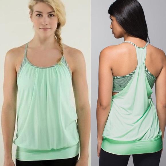 df97e22927 lululemon athletica Tops - Lululemon no limits tank top mint green stripe